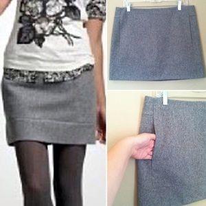J. Crew 100% Wool Gray Pocket Mini Skirt 0